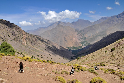 Trekkers in the Atlas moutains