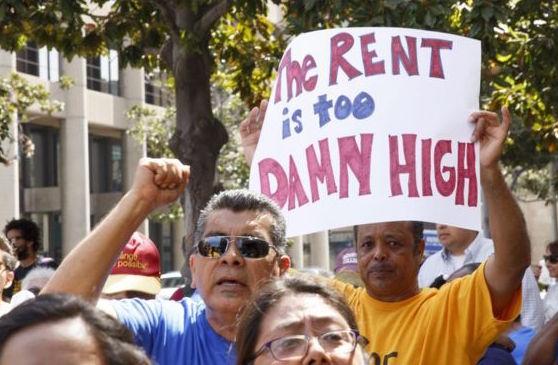 Demonstrators against gentrification