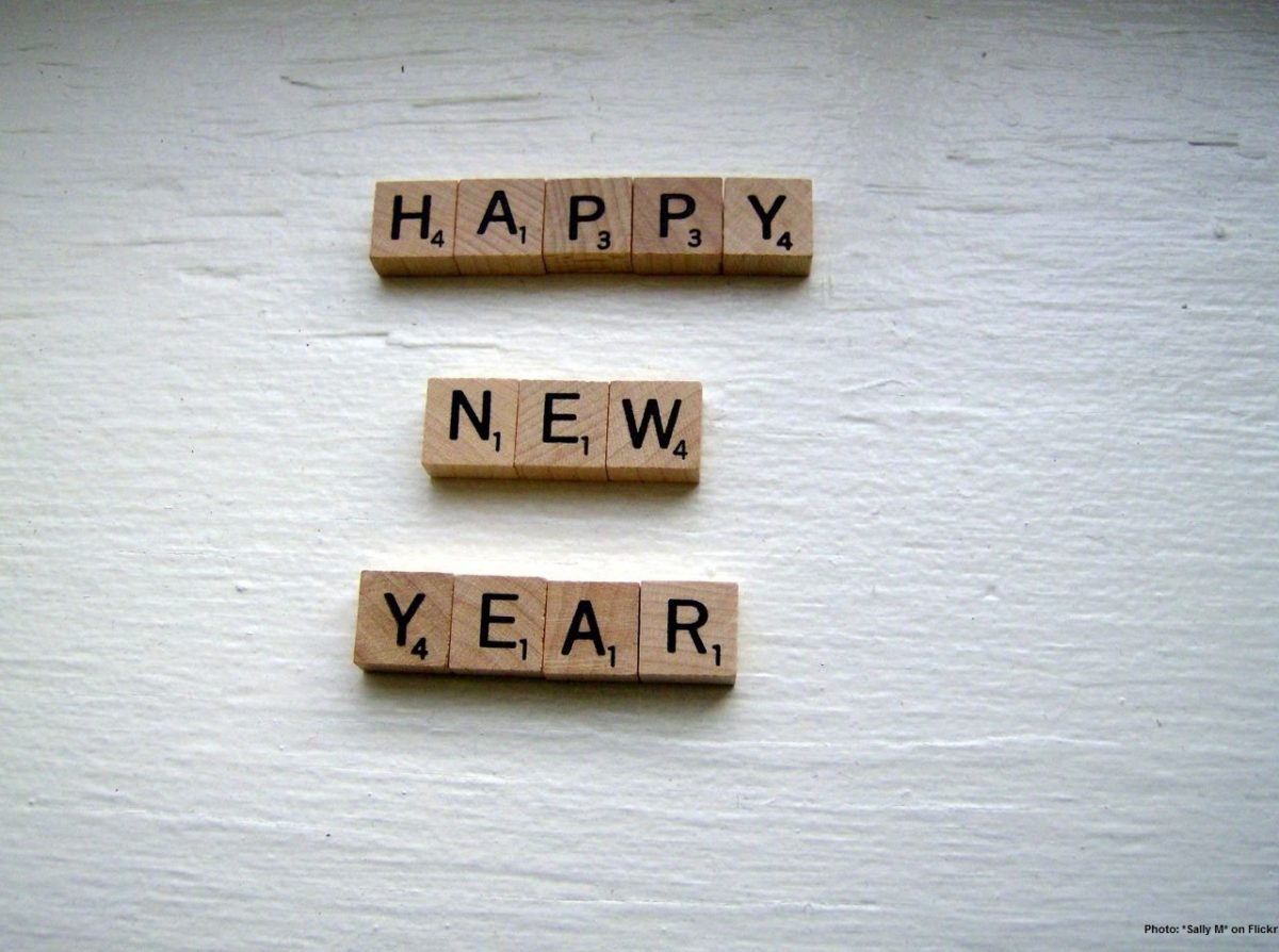 Happy new year spelt out in Scrabble tiles